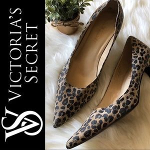 EUC Colin Stuart Leopard Leather Pointed Toe Heels